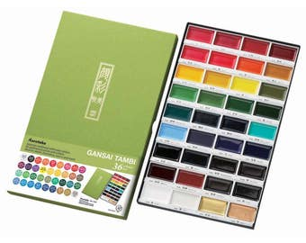 Kuretake Gansai Tambi Water Colours - Choice of 12, 18, or 36 Color Set