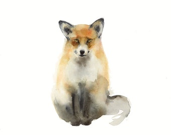 Fox art, Fox art print, Fox painting, Fox watercolor print, woodland art
