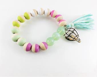 Hot air balloon gift Hot Air Balloon Charm Bracelet, Tassel, Girl Gift, Beads, Wooden, Hand Painted, Kids, Charm Bracelet