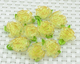 10 Pastel Yellow  Trimmed With Gold Organza Flowers Appliques