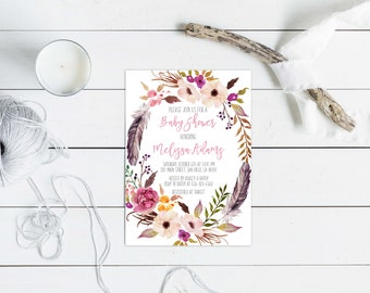 Boho Baby Shower Invitation, Boho Chic Feathers Floral Wreath Invite, Gender Neutral shower, Floral Watercolor, Baby Sprinkle. Spring.