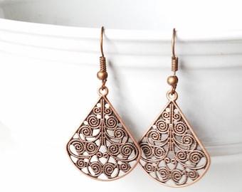 Antique Copper Filigree Earrings Lace Earrings TearDrop Earrings Dangle Copper Earrings Tear Drop Earrings Brown earrings