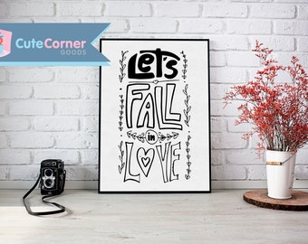Let's Fall in Love Lettering Poster