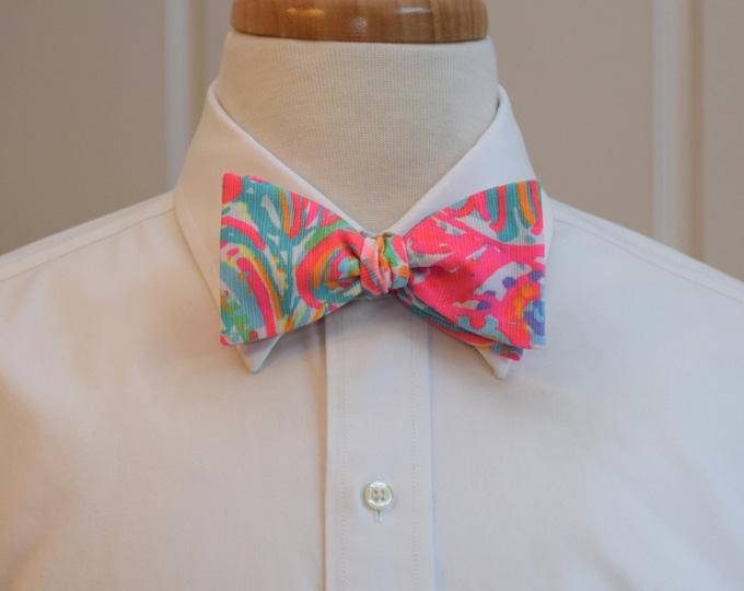 Men's Bow Tie, Swish Fish pinks/multi bright Lilly print, wedding bow tie, groom/groomsmen bow tie,  Kentucky Derby bow tie, prom bow tie