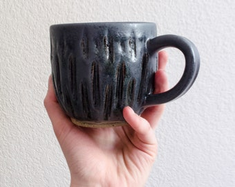 Metallic Carved Ceramic Mug