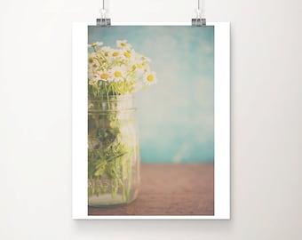 daisy photograph still life photography white flower photograph floral print daisy print teal home decor shabby chic decor