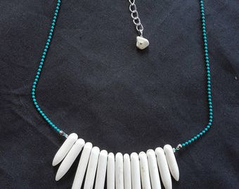 Colorful ethnic howlite spikes and chain necklace beads, various colors, 40 cm necklace.