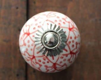 Red Pattern Round Ceramic Drawer Knobs - Cabinet Knobs (CK61)