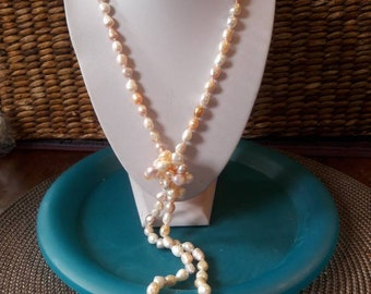 Natural pearl necklace Extra-long soft pastel colors