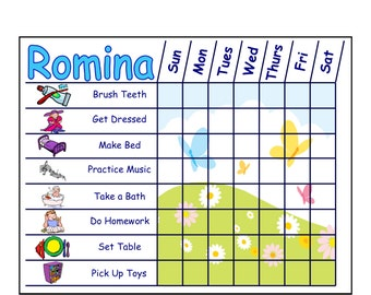 Childrens Chore Chart with Chore Pictures, Girl Themes, Customizeable