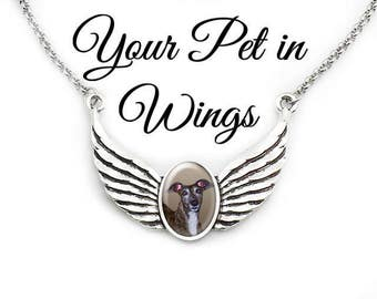 Pet Memorial Necklace, Dog Memorial, Cat Memorial, Your Pet Photo in Angel Wings, Your Photo or Quote, Your Pet's Image, Silver or Brass