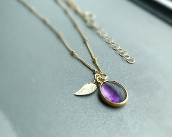 Amethyst oval pendent , leaf charm on 14 k gold filled ball necklace