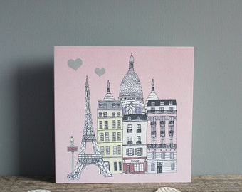 Paris Greetings Card with Hearts - Wedding Card -  Paris Anniversary Card - Engagement Card