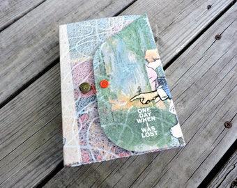 Hand bound book long stitch sketchbook journal flap collage