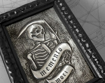 Memento Mori Reaper : hand embossed anatomical repoussé metal wall art