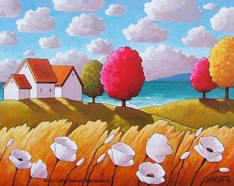 Coastal Summer Cottage Art Print, 5x7 Seaside Landscape, Windy Flowers Ocean View, Folk Art Seascape, Lake House Wall Decor Gift by Horvath