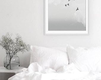 Birds Print. Flock of Birds Print. Birds Picture. Minimal Art. Grey Art. Monochrome Wall Art. Green Lili