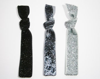 Set of 3 Glitter Hair Tie Package by Crimson Rose Cottage - Black, Charcoal and Silver Glitter Hair Ties that Double as Bracelets