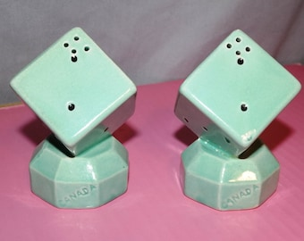 Turquoise Dice Salt and Pepper Shakers Vintage Souvenir of Canada