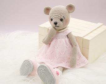 Amigurumi crochet doll - Adorable teddy bear doll in a pink knitted dress
