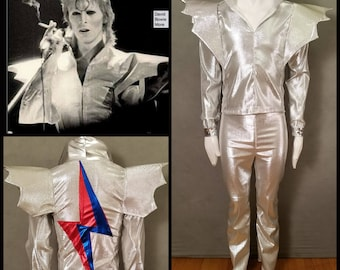 MADE TO ORDER David Bowie / Ziggy Stardust inspired Silver 2 piece suit with 'Bat Wings' and lightning bolt on the back of jacket for men