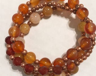 Amber glass stone and copper stretch bracelet sets