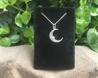 """Moon Face Sterling Silver Pendant with 20"""" Box Chain, Moon Face Necklace, Moon Face Jewelry, Crescent Moon Jewelry"""
