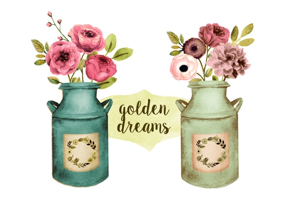 Floral Clipart Rustic Wedding Mason Jar
