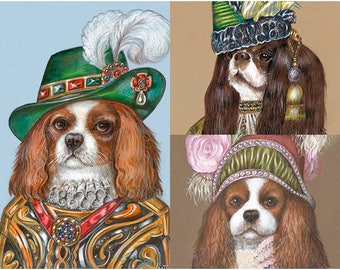 King Charles Trio - 3 Art Prints - Lord, Lady from the East and Lady Rosa - Funny Dog Portraits by Maria Pishvanova