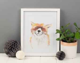 Huckle the Fox Art Print, A5 Art Print, Animal Art Print