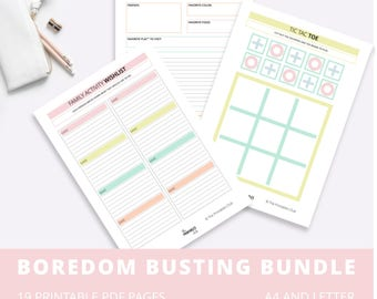 Family Boredom Busting Bundle, Printables for Kids, Planners, Activities and Games to Entertain Kids, Entertain Children. Low Ink Design