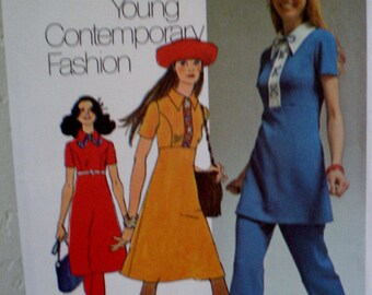 Vintage 1971 Simplicity #9502 Sewing Pattern  Empire Mini Dress or Tunic or Regular Length and Pants Size 12 Bust 34 UNCUT **Epsteam