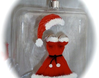 Christmas Ornament Mrs. Clause's Sexy Handpainted Red Dress  Personalized