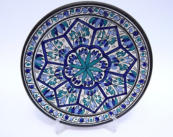 Vintage Blue & Green Wall Plate - Hand painted