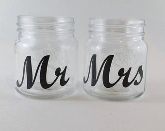 Mr and Mrs Mason Jar Style Shot Glasses- Wedding Shot Glass - Country Shabby Chic Wedding - Bachelor and Bachelorette Party - Bridal Shower