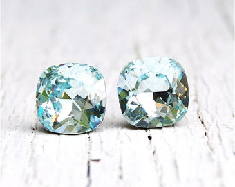 Icy Blue Aquamarine Earrings Super Sparklers Square Swarovski Crystal Icy Aqua Blue Stud Earrings Mashugana