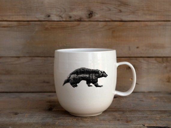 Handmade Porcelain coffee mug with wolverine drawing Canadian Wildlife collection