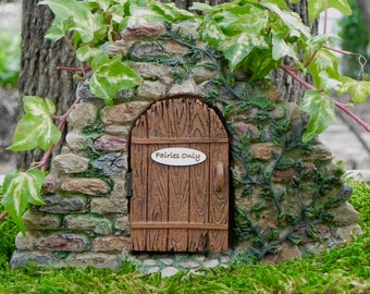 Fairy Door, hidden stairs doorway, handcrafted fairies only sign, supply for mini garden, hinged door, miniature accessory