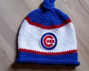 Chicago Cubs Baby Hat, Newborn Photo Prop, Chicago Cubs Knit Hat, Baby Boy Hat, Baby Girl Hat, Baby Chicago Cubs, Newborn Chicago Cubs Hat