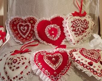 Handmade vintage Valentine ornaments 1