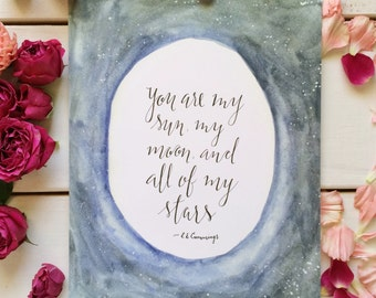 E e Cummings quote print, You are my sun my moon and all of my stars, Romantic gifts for him