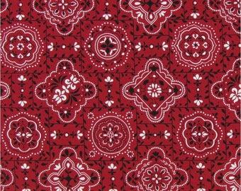 Red bandana fabric, cowboy fabric, novelty fabric, western style,