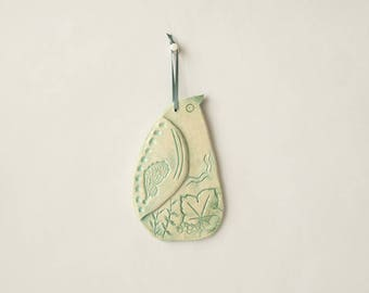 Bird ceramic to hang, kid, pastel green enamel