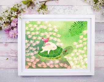 Turtle and Hare, Nursery Animal Wall art, Whale decor, Kids room, Animals, Nursery Rhyme, Print