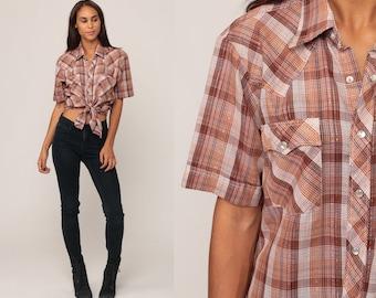 Western Shirt 80s Plaid Shirt METALLIC Threads PEARL SNAP Brown Button Up 1980s Vintage Short Sleeve Rockabilly Cotton Medium Large