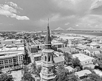 Downtown Charleston Church Steeple and Ravenel Bridge