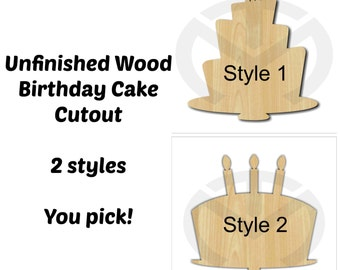 Birthday Cake - 01632- Unfinished Wood Laser Cutout, Wreath Accent, Door Hanger, Ready to Paint & Personalize, Various Sizes and 2 styles