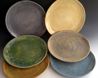 Handmade Dinnerware Dinner Plates, Stoneware Dinner Plates, Six Colors,  Handmade Organic Dinnerware By