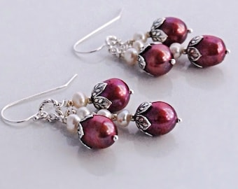 Red Pearl Earrings Silver Sterling Cluster Earrings Pearl Drop Earrings Gift for Her Under 50 Red Bridesmaids Earrings Red Dangle Earrings