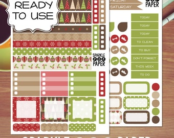 Boughs of Holly Christmas Weekly Layout Stickers for MAMBI Happy Planner MINI